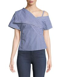 Theory - One-shoulder Foldover Hartman Gingham Top - Lyst