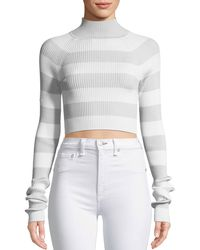 Zimmermann - Breeze Tube Turtleneck Striped Crop Knit Top - Lyst
