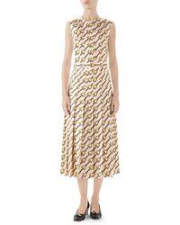 dba7e0e1c Gucci - Pleated Horsebit Print Silk Faille Dress - Lyst