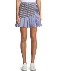 Parker - Jordon Flounce Shirting Mini Skirt - Lyst