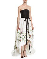 Oscar de la Renta - Botanical Garden Embroidered Silk-faille Gown - Lyst