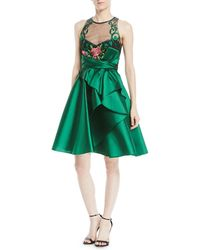 Marchesa notte - Sleeveless Illusion Dress W/ Mikado Skirt - Lyst