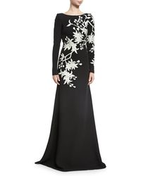 Naeem Khan - Floral-embroidered Long-sleeve Gown - Lyst
