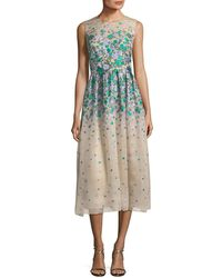Lela Rose - Sleeveless Floral Brocade Midi Dress - Lyst