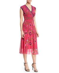Fuzzi - Cap-sleeve Floral-print Dress With Reversible Neckline - Lyst