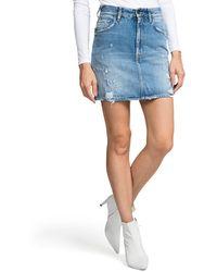 PRPS - Distressed A-line Denim Mini Skirt - Lyst