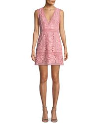 Alice + Olivia - Zula Sleeveless V-neck Lace Mini Party Dress - Lyst