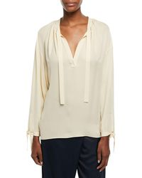 303be0438803aa Lyst - A.L.C. Felix Cold-shoulder Silk Top in White - Save 11%