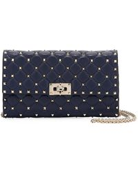 Valentino - Rockstud Spike Quilted Napa Leather Wallet On Chain - Lyst