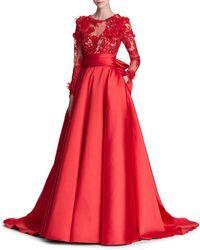 Marchesa - Long-sleeve Corded Lace Duchess Satin Evening Gown W/ 3-d Organza Petals - Lyst