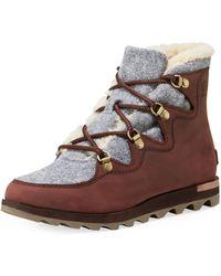 Sorel - Sneakchic Alpine Faux Shearling-trimmed Nubuck Ankle Boots - Lyst