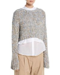 Brunello Cucinelli - Hand-knit Waxed Tweed Cropped Pullover Sweater - Lyst