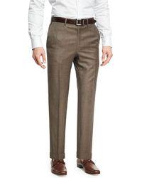 Brioni - Sharkskin Wool Flat-front Trousers - Lyst