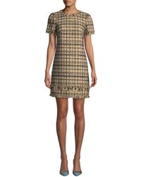 0d6c7699abc4 Kate Spade - Bicolor Tweed Crewneck Short-sleeve Mini Dress W/ Fringe Trim -