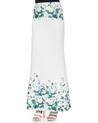 ERIN Erin Fetherston - Long Floral-Printed Fluted Skirt - Lyst
