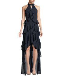 Badgley Mischka - High-low Georgette Ruffle Halter Gown - Lyst
