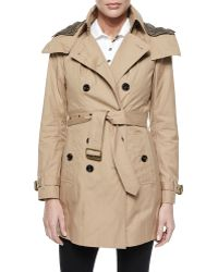 Burberry Brit - Hooded Canvas Trench Coat - Lyst