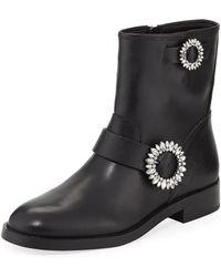 MICHAEL Michael Kors - Viola Embellished Leather Moto Boots - Lyst