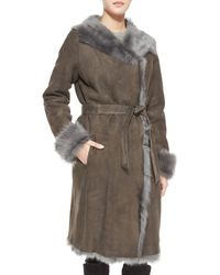 Goes - Reversible Shearling Overcoat W/ Fur Trim - Lyst