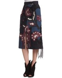 Burberry Prorsum - Patchwork Suede Skirt W/fringe - Lyst