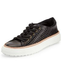 Delman - Mela Perforated-leather Sneaker - Lyst