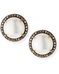 Margo Morrison - Pavé Diamond & Pearl Button Earrings - Lyst