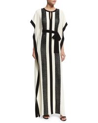 St. John - Guipure-lace Belted Crepe Kaftan - Lyst