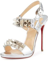 red bottom dress shoes for men - Christian louboutin Pyrabubble Studded 70mm Red Sole Sandal in ...