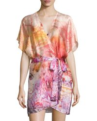 Christine - Aurora Printed Short Wrap Robe - Lyst