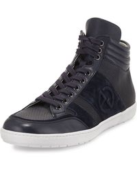 Giorgio Armani - Textured Leather High-top Sneaker - Lyst