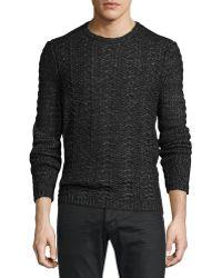 John Varvatos | Cable-knit Crewneck Sweater | Lyst