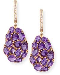 Rina Limor - Signature 18k Rose Gold Amethyst & Pink Sapphire Drop Earrings - Lyst