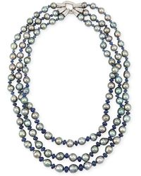 Assael - Three-strand Tahitian Pearl & Sapphire Necklace With Diamonds - Lyst