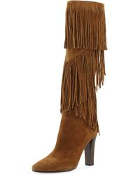 Saint Laurent - 'lily' Fringe Tall Boot - Lyst