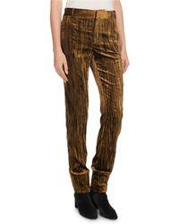 Saint Laurent - Crinkled-velvet Straight-leg Pants - Lyst