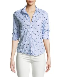a96ec29016 Frank   Eileen - Printed Long-sleeve Button-down Cotton Top - Lyst