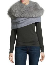 Magaschoni - Ribbed Cashmere Shrug With Detachable Fox Fur Collar - Lyst