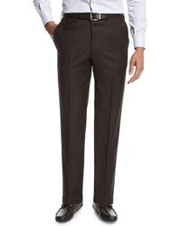 Brioni - Sharkskin Flat-front Trousers Brown - Lyst