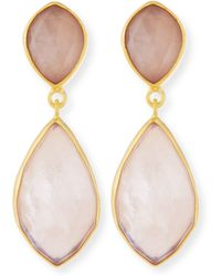 Dina Mackney - Rose Quartz Double-drop Earrings - Lyst