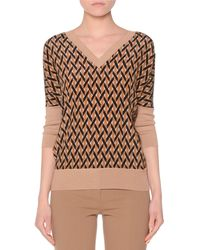 Agnona - Dolman-sleeve Printed-front Cashmere-Blend Top - Lyst