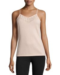 Neiman Marcus - Cashmere Camisole With Lace Bib - Lyst
