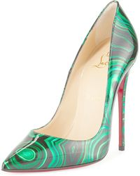 Christian louboutin So Kate Scarabe Leather \u0026amp; Mesh Pumps in Silver ...