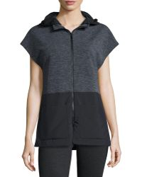 Elie Tahari - Aria Hooded Terry/tech Combo Vest - Lyst