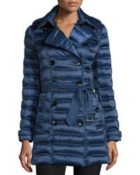 Burberry Brit - Chesterford Double-Breasted Midi Quilted Coat - Lyst