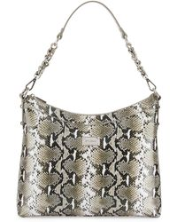 St. John - Python-embossed Leather Hobo Bag - Lyst