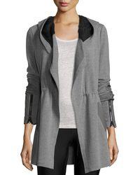 Blanc and Noir - Traveler Long Jacket W/leather Trim - Lyst