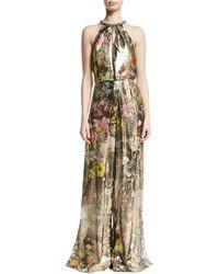 Monique Lhuillier | Floral Metallic Lamé Sleeveless Jumpsuit | Lyst