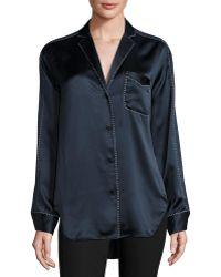 Rag & Bone | Hahn Pickstitch Silk Satin Pajama Shirt | Lyst