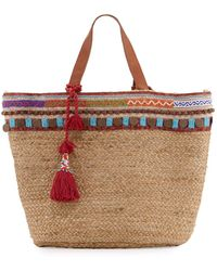 Ále By Alessandra - Marrakesh Embroidered Straw Beach Tote Bag - Lyst