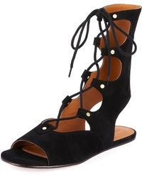 Chloé - Suede Mid-calf Gladiator Sandals - Lyst
